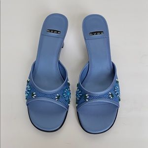 HYPE Blue Knit & Beaded Mules